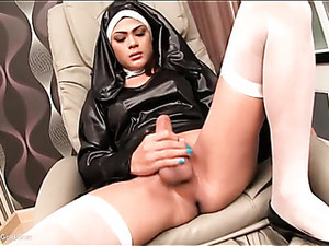 Ladyboy In Nun Outfit Sucks Cock And Strokes