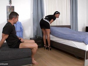 Mesmerizing Brunette Maid In High Heels Being Drilled Doggystyle