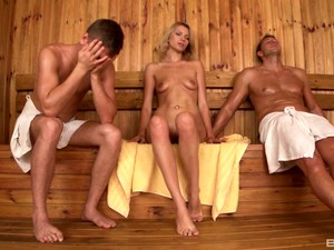 Blonde Karina Grand Can't Resist Not To Fuck Two Guys In The Sauna