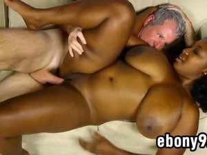 Old Man Pleasured By A Plump Black Chick