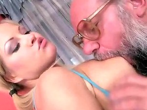 Lucky Grandpa Fucking Hot Busty Teen Blonde