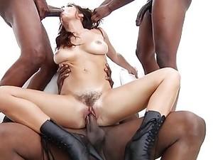 Brunette Gets Gang Banged By Three Huge Hard Black Cocks