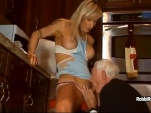 Robbi Racks Sucks Old Man's Dick And Makes Him To Blow His Too
