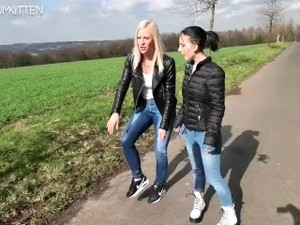 Blonde In Black Leather Jacket And Brunette In Black Puffy Jacket Pissing 2