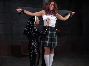 Kinky Nun Ties Up A Girl And Strapon Fucks Her Pussy