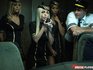 Stewardess Sluts Have A Wild Orgy And Everyone Gets Off