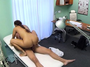 Hot Brunette Nurse Giving Massage