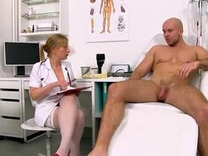 Horny Uniform Lady Gabina Jerking Off A Patient