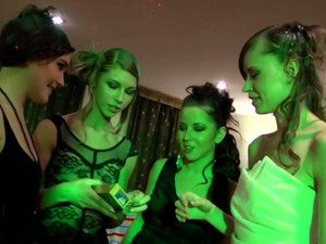 Bodacious Party Sluts With Slim Bodies Inflate Condoms