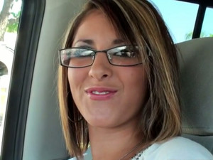 Seductive Blonde Chick Wearing Glasses Leads Dirty Talks In The Car