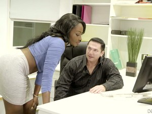 Sexy Ebony Secretary Osa Lovely Gets Her Pussy Fucked On The Table