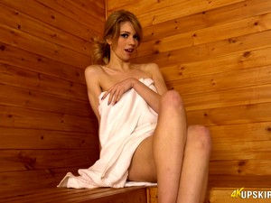 All Alone Sauna Hottie Eva Enjoys Petting Her Own Pussy For Delight