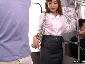 Tired Chestnut Haired Office Clerk Mami Asakura Is Fucked In Subway Train