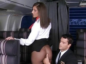 Sexy Stewardess And Horny Pilot Fuck Each Other On Plane
