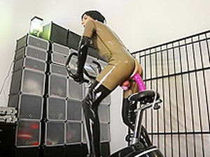 Latex Rubber Doll Anal Training, In Chastity