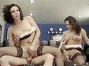 Tranny Twins Receive Banged And Sucked