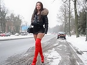 Julie Skyhigh Moncler Hooker Walk In Snow
