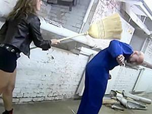 Gorgeous Twin Katja Humiliates And Kicks An Old Man