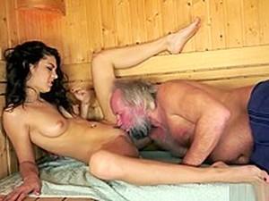 Hot Teen Swallows Cum Of Older Man In Sauna