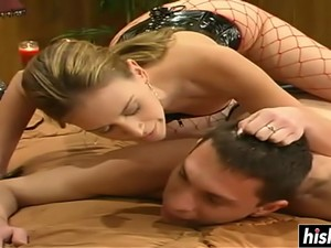 Horny Girl Bangs Him With A Strap-on