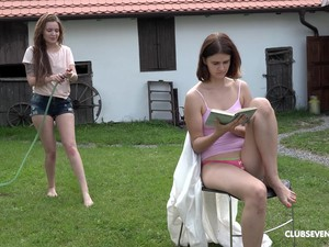 Shelley Bliss And Her Friend Masturbate Together Outdoors