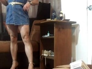 Hot, Candid, Muscle Legs In Mini Dress And Strapy High Heels Teasing, Fbb