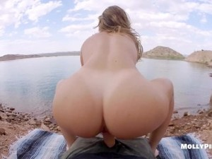 Hard Public Beach Fucking POV - Molly Pills - Young Amateur Couple Creampie