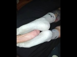 Huge Cumshot On Wifes Sexy Smelly After Work Gray Puma Socks