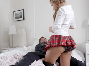 Sofi Goldfinger Strokes Her Man's Balls While He Fucks Her Tight Ass