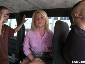 Sexy Blonde's Fucked Silly Inside The Bang Bus By A Big Cock