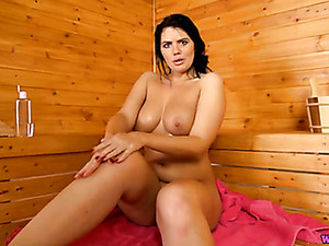 Sauna Babe Pours Oil All Over Her Big Natural Tits