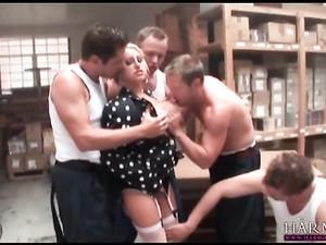 Warehouse Workers Gangbang A Hot Blonde Slut