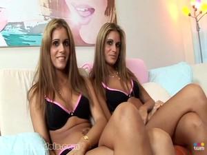 Hot Blonde Twins Suck A Big Fat Dick