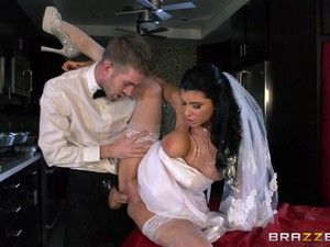 Bride In Stockings Pinned And Swallows Cum After Wedding