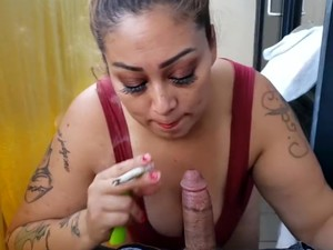 Sexy Smoking Blowjob On Balcony With Facial Cum In Mouth