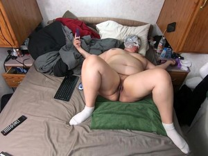 Chubby Wife Getting Off On Webcam While Husband Listens From Other Room