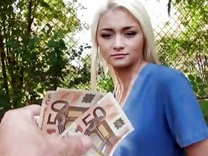 Blonde Czech Whore Alive Bell Fucks Outdoors For Money POV