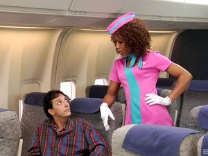 Curly Haired Stewardess Gets A Facial From A White Guy