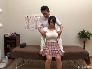 Busty Japanese Girl Gets Her Hairy Cunt Massaged By A Stranger