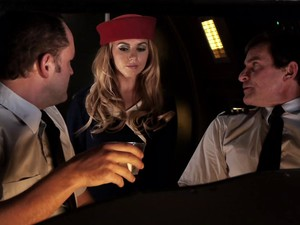 Slutty Stewardess And The Two Pilots Have A Midair Threesome