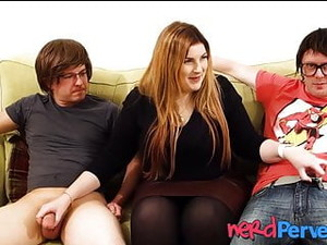 Chubby Succubus Lucy Lane Slobbering Two Geeky Cocks