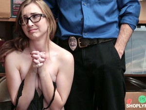 Nerdy Caucasian Suspected Chick Gracie May Green Gets Punished By Officer