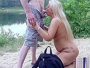 Sperm And Piss Bitch Gets Public On A Bathing Lake, The Mouth Stuffed! Dirty Used By 40 Men As Cum And Piss Toilet! Part 2