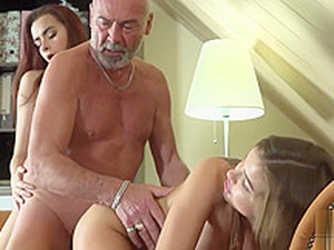 Old Man Fucks 2 Young Teens She Swaps Cum Girlfriend BFF