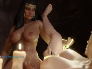 MUSCLE FUTA DICK GIRL FUCKS BLONDE 3D ACT