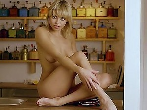 Blonde On The Bar Strips To Model Her Beautiful Body