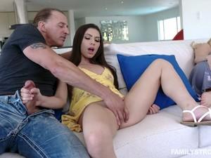 Cheating Bastard Fucks Soaking Pussy Of Lusty Gianna Gem Near Sleeping GF