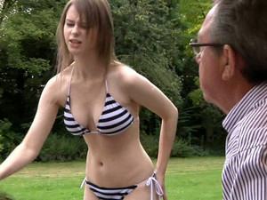 Busty Sweetie In Bikini Beata Undine Gets Her Hirsute Muff Pounded By An Old Man