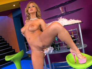 Busty Blonde Diva In High Heels Dorothy Black Masturbates With Bottle