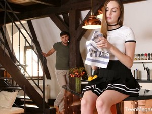 Naughty Girl In Black Skirt Lena Reif Gets Poked On The Table Well